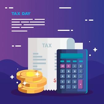 Ilustración del día de impuestos con papel comprobante y calculadora