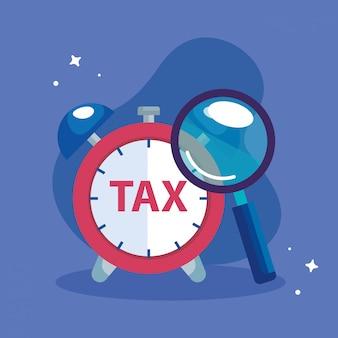 Ilustración del día de impuestos con reloj despertador