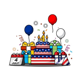 Ilustración del día de la independencia el 4 de julio con el tema de la bandera americana, globos, horizontes y regalos de cumpleaños