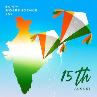 Ilustración del día de la independencia de india degradado