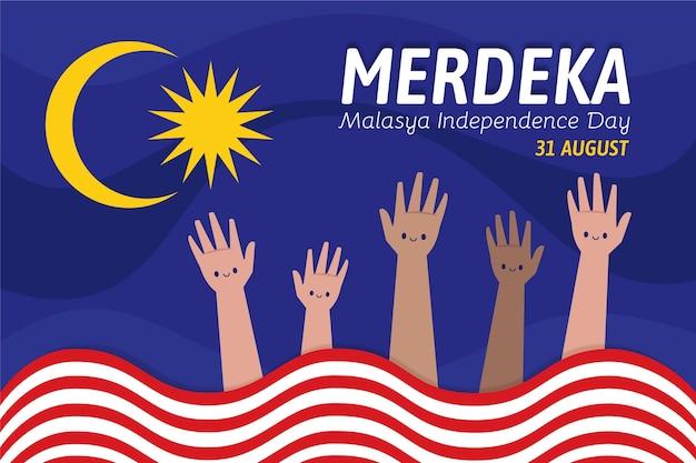 Ilustración del día de la independencia de malasia.