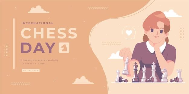 Ilustración del día internacional del ajedrez