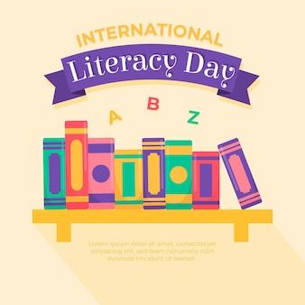 Ilustración de día internacional de alfabetización de diseño plano