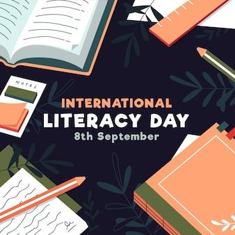 Ilustración del día internacional de la alfabetización con libros