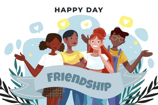 Ilustración del día internacional de la amistad de dibujos animados