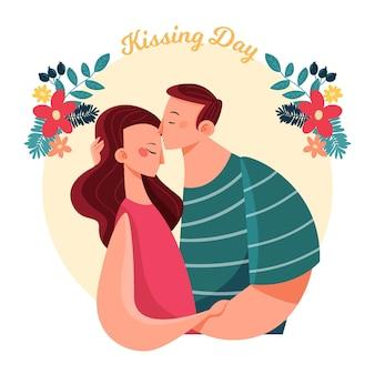 Ilustración del día internacional del beso plano orgánico