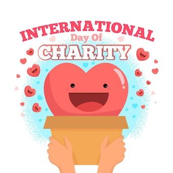 Ilustración del día internacional de la caridad con corazón