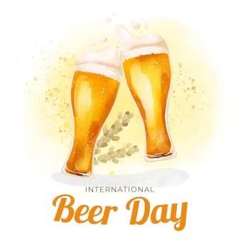Ilustración del día internacional de la cerveza acuarela con gafas
