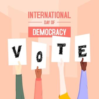 Ilustración del día internacional de la democracia con las manos
