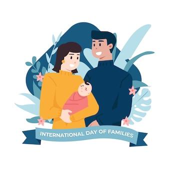 Ilustración del día internacional de la familia de padres con bebé