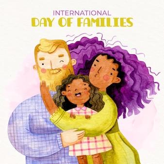 Ilustración del día internacional de las familias en acuarela pintada a mano