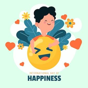 Ilustración del día internacional de la felicidad con emoji y persona