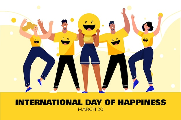 Ilustración del día internacional de la felicidad con personas y emoji.