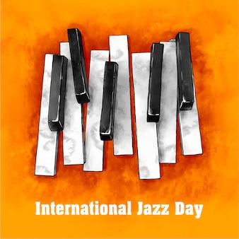 Ilustración del día internacional del jazz en acuarela