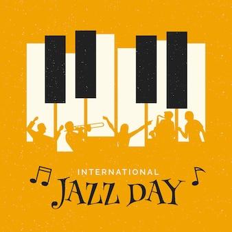 Ilustración del día internacional del jazz con cuentos de piano