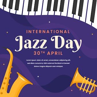 Ilustración del día internacional del jazz con instrumentos musicales.