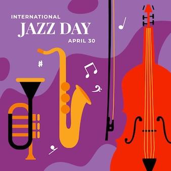 Ilustración del día internacional del jazz con saxofón y bajo.