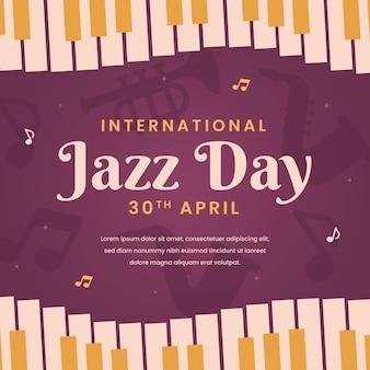 Ilustración del día internacional del jazz con teclas de piano.
