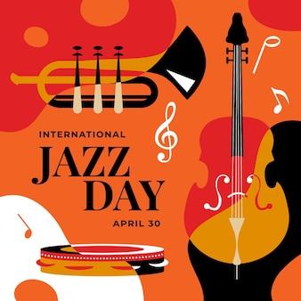 Ilustración del día internacional del jazz con trompeta y bajo.