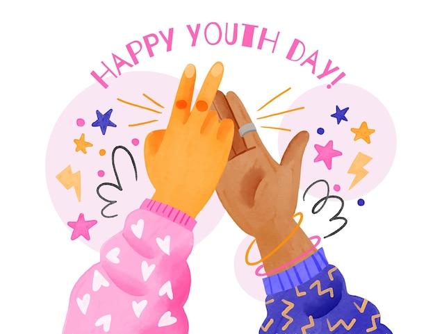 Ilustración del día internacional de la juventud en acuarela pintada a mano