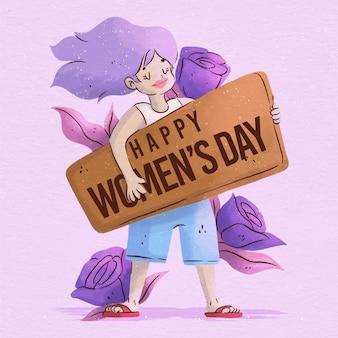 Ilustración del día internacional de la mujer en acuarela