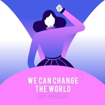 Ilustración del día internacional de la mujer degradada con mujer levantando el puño