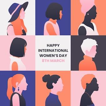 Ilustración del día internacional de la mujer degradado