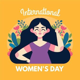 Ilustración del día internacional de la mujer dibujada a mano plana con mujer y flores