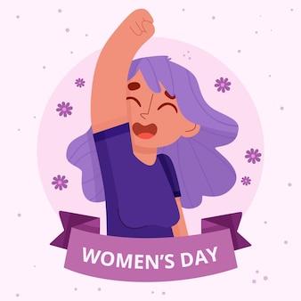 Ilustración del día internacional de la mujer dibujada a mano plana