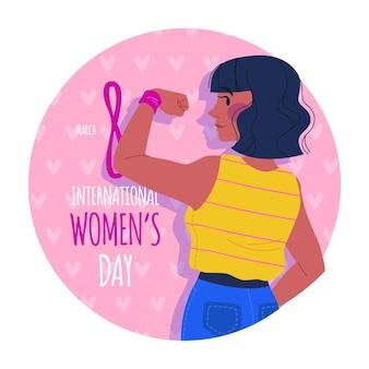 Ilustración del día internacional de la mujer con mujer mostrando bíceps