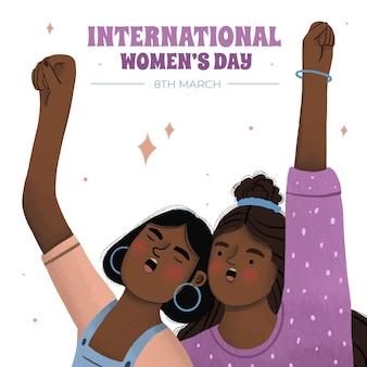 Ilustración del día internacional de la mujer con mujeres cantando.