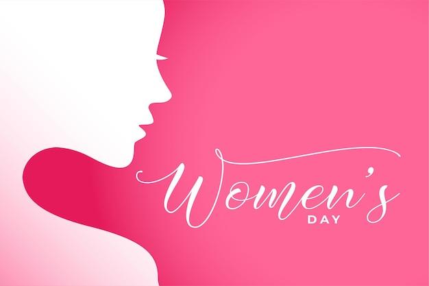 Ilustración del día internacional de la mujer con rostro de mujer.