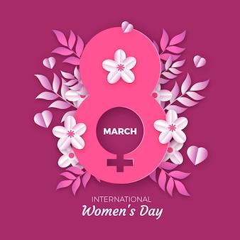 Ilustración del día internacional de la mujer con símbolo femenino y flores.