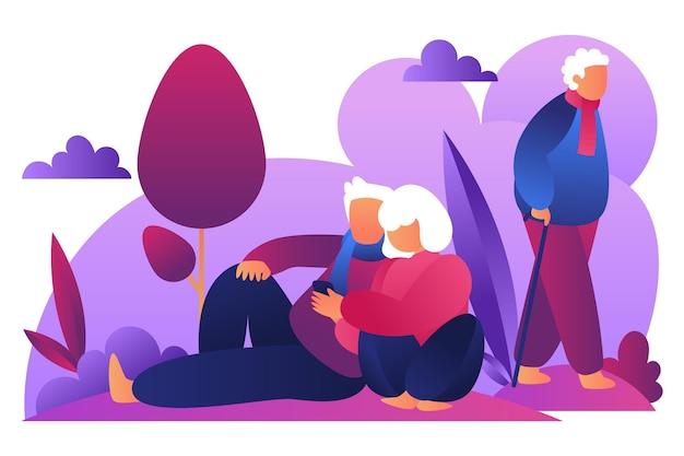 Ilustración del día internacional de las personas mayores.