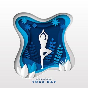 Ilustración del día internacional del yoga en estilo papel.