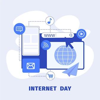 Ilustración del día de internet plana