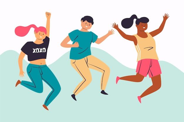 Ilustración del día de la juventud con jóvenes saltando