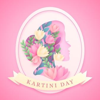 Ilustración del día de kartini en estilo papel
