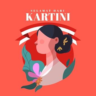 Ilustración del día de kartini plano