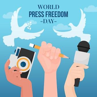 Ilustración del día de la libertad de prensa mundial plano orgánico