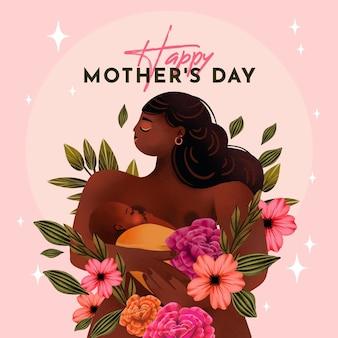 Ilustración del día de la madre acuarela pintada a mano