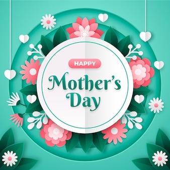 Ilustración del día de la madre en estilo papel.