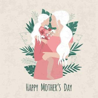 Ilustración del día de la madre con silueta de madre e hija y dulces deseos