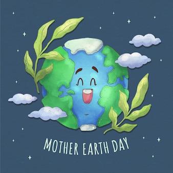Ilustración del día de la madre tierra en acuarela