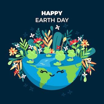 Ilustración del día de la madre tierra de dibujos animados
