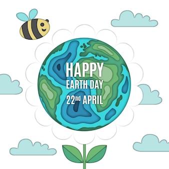 Ilustración del día de la madre tierra en estilo papel