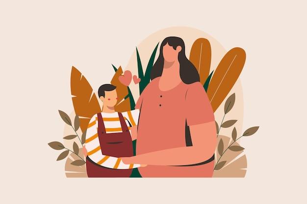 Ilustración del día de las madres con mamá e hijo rodeados de hojas