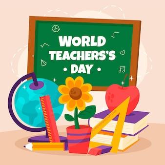Ilustración del día del maestro con diferentes elementos didácticos.