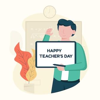 Ilustración del día del maestro de diseño plano