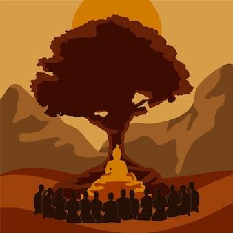 Ilustración del día de makha bucha con árbol y estatua